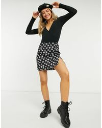 New Look Ribbed Wrap Body - Black