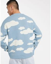 ASOS Oversized Knitted Sweater With Cloud Design - Blue