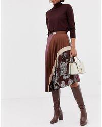 Mango Pleated Paisley Print Skirt - Black
