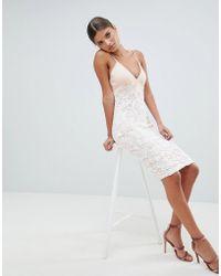 Girl In Mind - Lace Cross Strap Midi Dress - Lyst