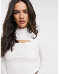 Stradivarius Ribbed Jersey With Open Cut Front - White