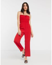 Fashion Union Jumpsuit With Tie Details - Red