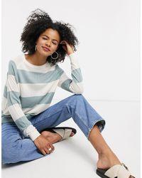 Vero Moda – Weiß und blau gestreifter Pullover mit Rundhalsausschnitt