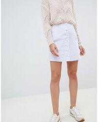 Mango - Button Through A Line Mini Skirt In Lilac - Lyst