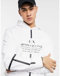 Armani Exchange Front Tape Logo Overhead Hoodie - White