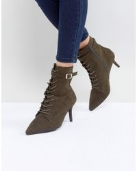 Faith | Bing Lace Up Kitten Heel Ankle Boots | Lyst