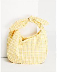 Mango Gingham Shoulder Bag - Yellow