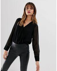 Vero Moda Черное Фактурное Полупрозрачное Боди С Запахом -черный