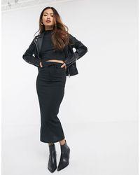 Miss Selfridge Ribbed Midi Skirt Co-ord - Black