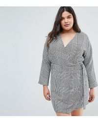 Lyst - Asos Oversized Midi Jumper Dress With V-neck in Brown 5ca9e4874