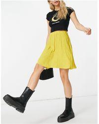 Y.A.S Mini-jupe d'ensemble fluide à pois - Jaune