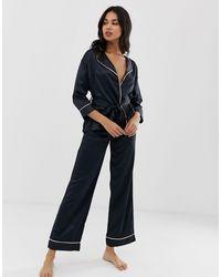 Bluebella Wren Satin Kimono Pyjama Set - Black