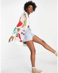 ASOS Oversized Cardigan With Graffiti Pattern-multi - Multicolour