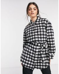 & Other Stories Check Gingham Longline Belted Shacket - Multicolour
