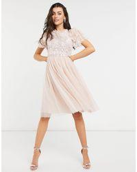 Needle & Thread Embellished Ruffle Sleeve Midi Dress - Pink