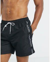Calvin Klein Черные Шорты Для Плавания С Фирменной Лентой -черный Цвет