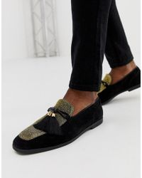 ASOS Loafers In Black Faux Suede With Gold Glitter