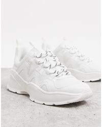 Monki Chunky Sole Sneaker With Mesh - White
