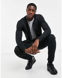 Brave Soul Completo tuta sportiva con maglione con zip e joggers neri - Nero