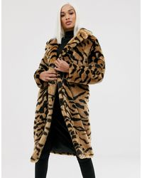 ASOS Tiger Faux Fur Longline Coat - Multicolour