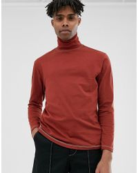 ASOS Long Sleeve Relaxed Roll Neck With Contrast Stitch In Brown - Red