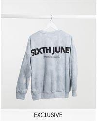 Sixth June Sudadera extragrande desteñida con logo en la espalda - Azul