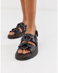 Dr. Martens Xabier - Sandali neri in pelle con componenti metallici - Nero
