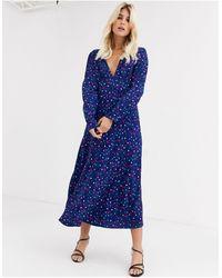 FABIENNE CHAPOT Kate Stars & Moon Midi Dress-blue