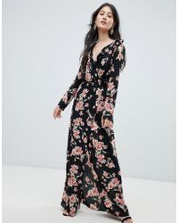 Oh My Love Frilled Neck Maxi Dress In Floral Print - Black
