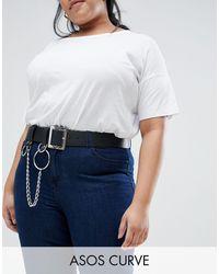 ASOS Asos Design - Curve -taille- En Heupriem Met Ketting En Ringen - Zwart