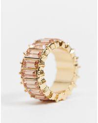 ASOS – er Ring mit rosa Steinen im Baguetteschliff - Mettallic