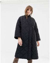 Monki - Padded V-neck Coat In Black - Lyst