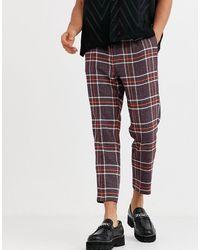 ASOS Pantalon habillé ajusté en laine mélangée à carreaux - Violet
