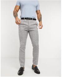 TOPMAN - Pantaloni da abito skinny a quadri grigi - Lyst