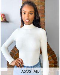 ASOS ASOS DESIGN Tall – Hochgeschlossener, langärmliger, gerippter Body mit Rückenausschnitt - Mehrfarbig