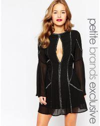Jarlo Flared Sleeve Embellished Keyhole Mini Dress - Black