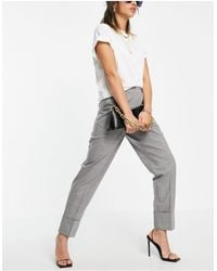Y.A.S Tailored Straight Leg Pants With Elasticated Waist And Turn Up Hem - Gray