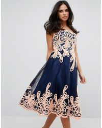 Forever Unique - Strapless Midi Dress With Baroque - Lyst