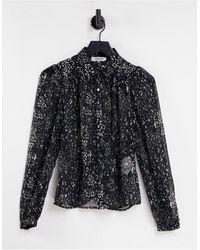 Morgan – durchscheinendes hemd mit schwarzem ditseymuster