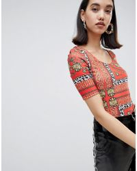 River Island - Body In Red Scarf Print - Lyst