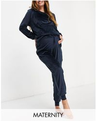 Chelsea Peers Maternity Recycled Poly Super Soft Fleece Lounge Sweat And jogger Set - Black