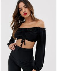 Flounce London Bardot Crop Top With Ruched Detail In Black