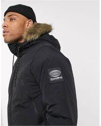 Pull&Bear Parka Jacket With Faux Fur Hood - Black