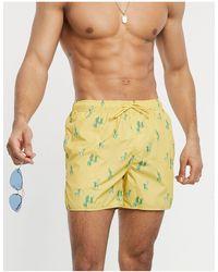 Pull&Bear Желтые Шорты Для Плавания С Принтом Кактусов -желтый