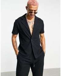 ASOS Co-ord Heavyweight Waffle Wrap Jersey Shirt - Black