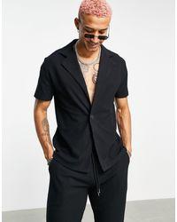 ASOS – Jerseyhemd schwerem Stoff mit Waffelmuster - Schwarz