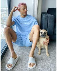 ASOS Towelling Lounge Pyjama Set With 'sunday' Logo - Blue