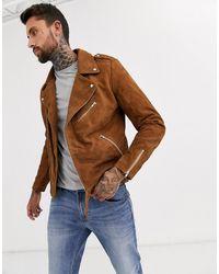 ASOS Suede Biker Jacket - Brown