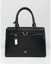 Dune - Dalis Black Tote Bag With V Bar Detail - Lyst