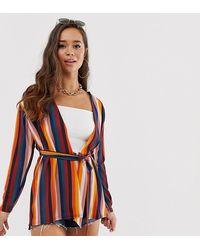 Boohoo Haut kimono cache-cœur à rayures multicolores